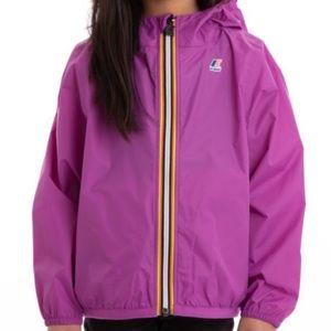 K-WAY Le Vrai 3.0 Girls Purple Rain Jacket Sz 12Y